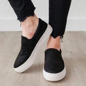 Black mirco suede slip on sneaker